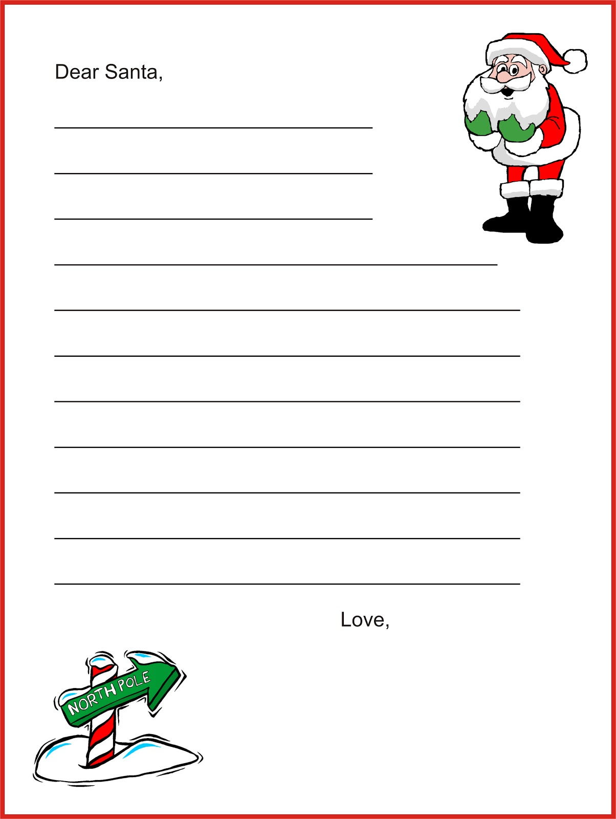 Santa list writing paper