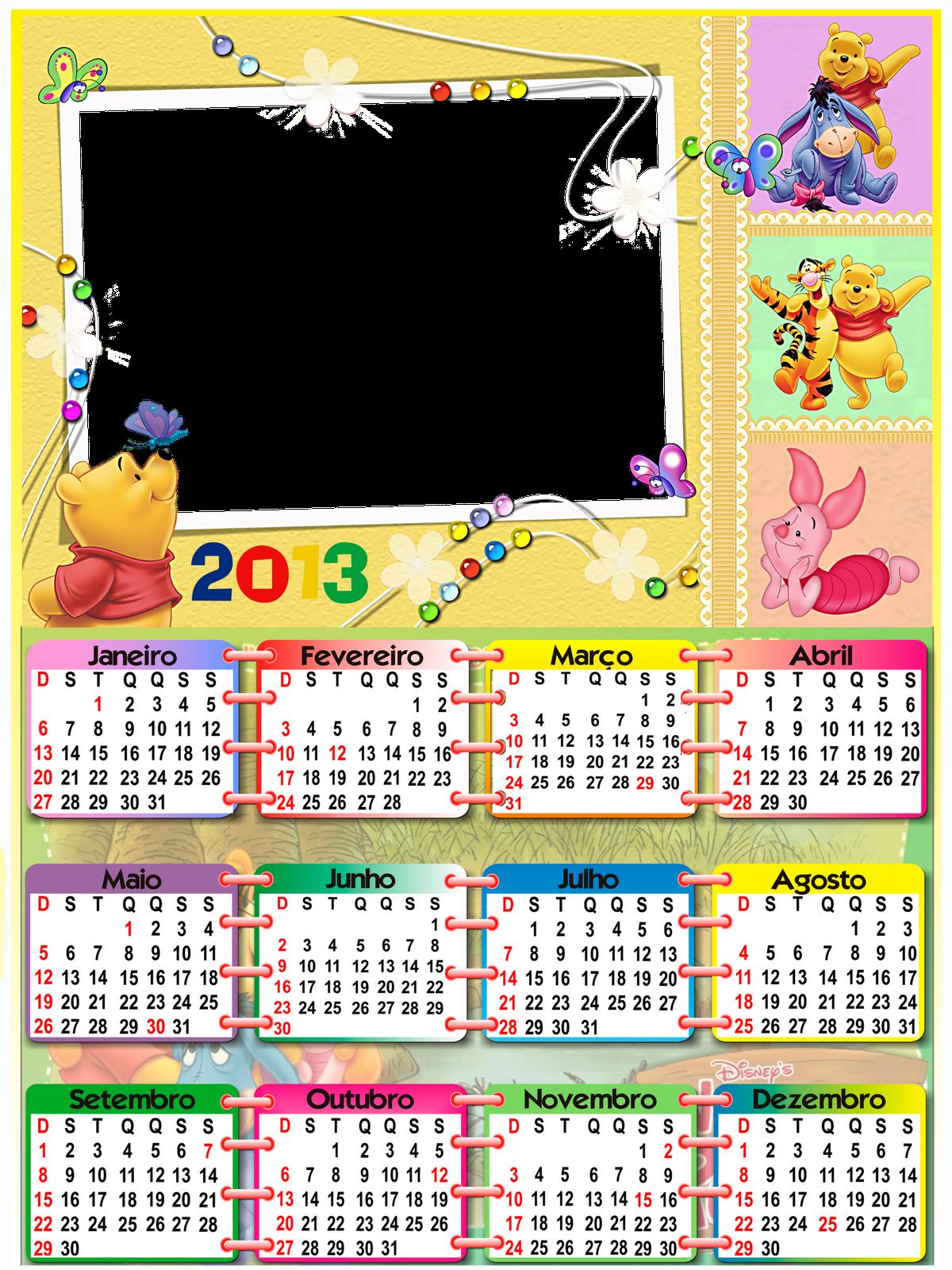 Calendários coloridos para 2013 - calendários em png 2013 - modelos ...
