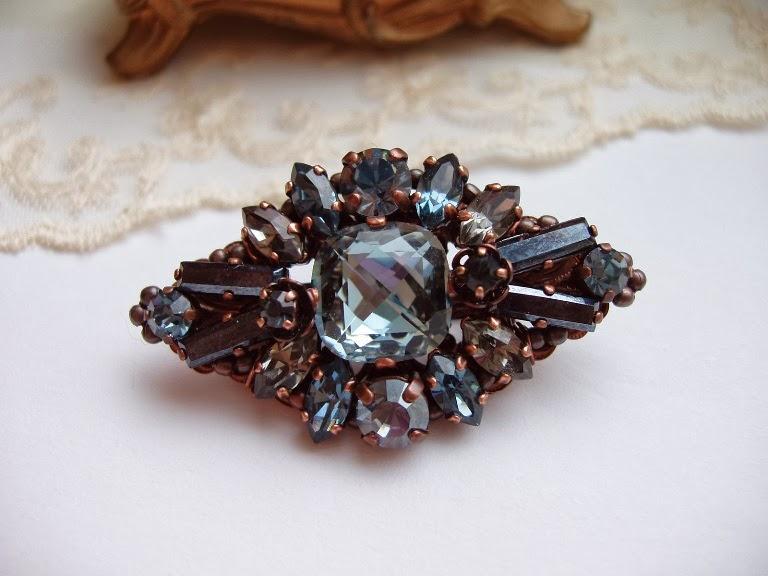 vintage stiilis ehted kristallidega hall sinine pross Broche Bijoux Crystal Estonie Schmuck