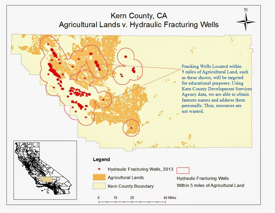 kern county ca agricultural lands v hydraulic fracturing wells map by evelyn loya