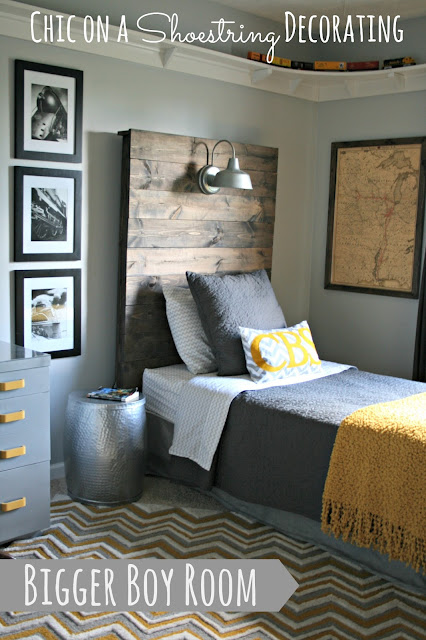 Bigger Boy Room, Yellow & Gray, by Chic on a Shoestring Decorating