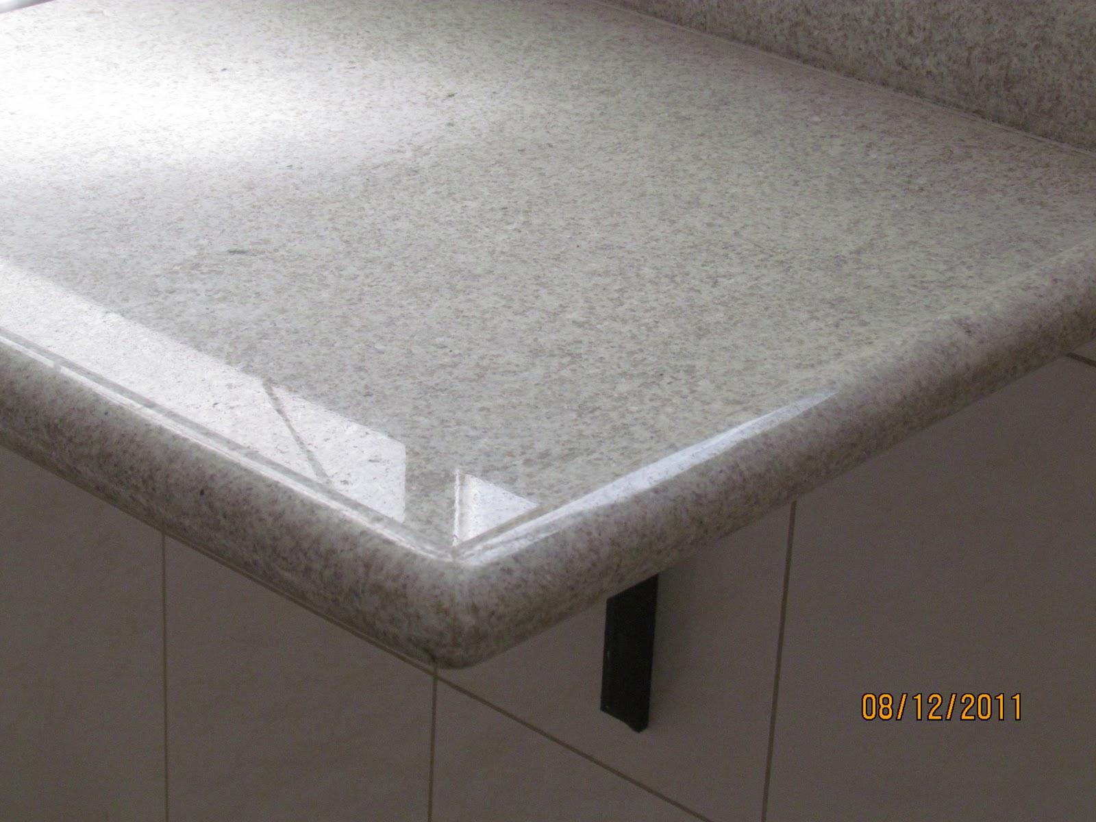 : Bancada de cozinha em granito branco siena acabamento boleado #62594D 1600x1200 Bancada Banheiro Branco Siena