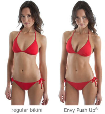 Difference wearing a regular bikini and a push up bikini from Envy Push Up