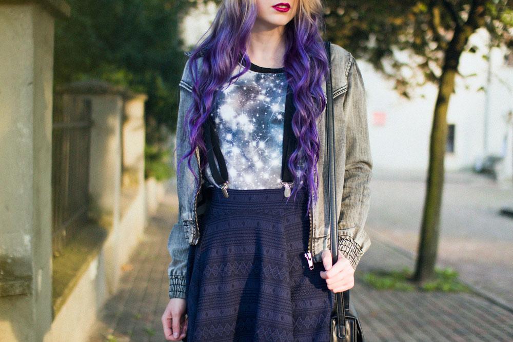 fioletowe włosy blog modowy