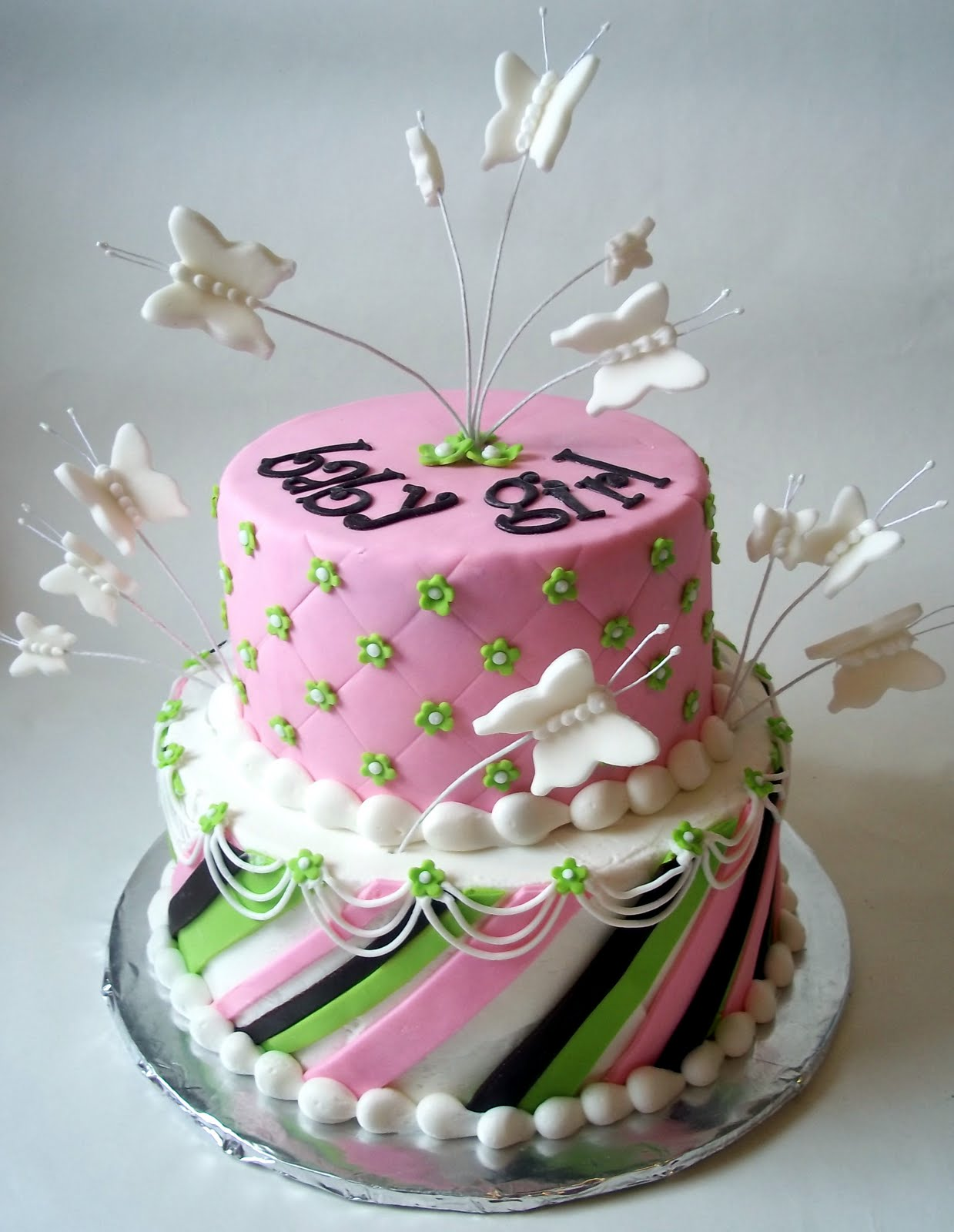 Violet 39 s custom cakes butterfly baby shower for Baby shower decoration butterfly