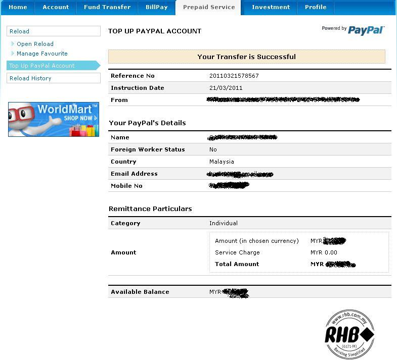 online banking paypal