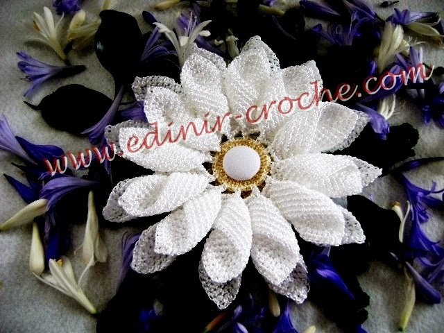 flores com toalhas e caminhos de mesa margaridas dvd coleção com Edinir-Croche