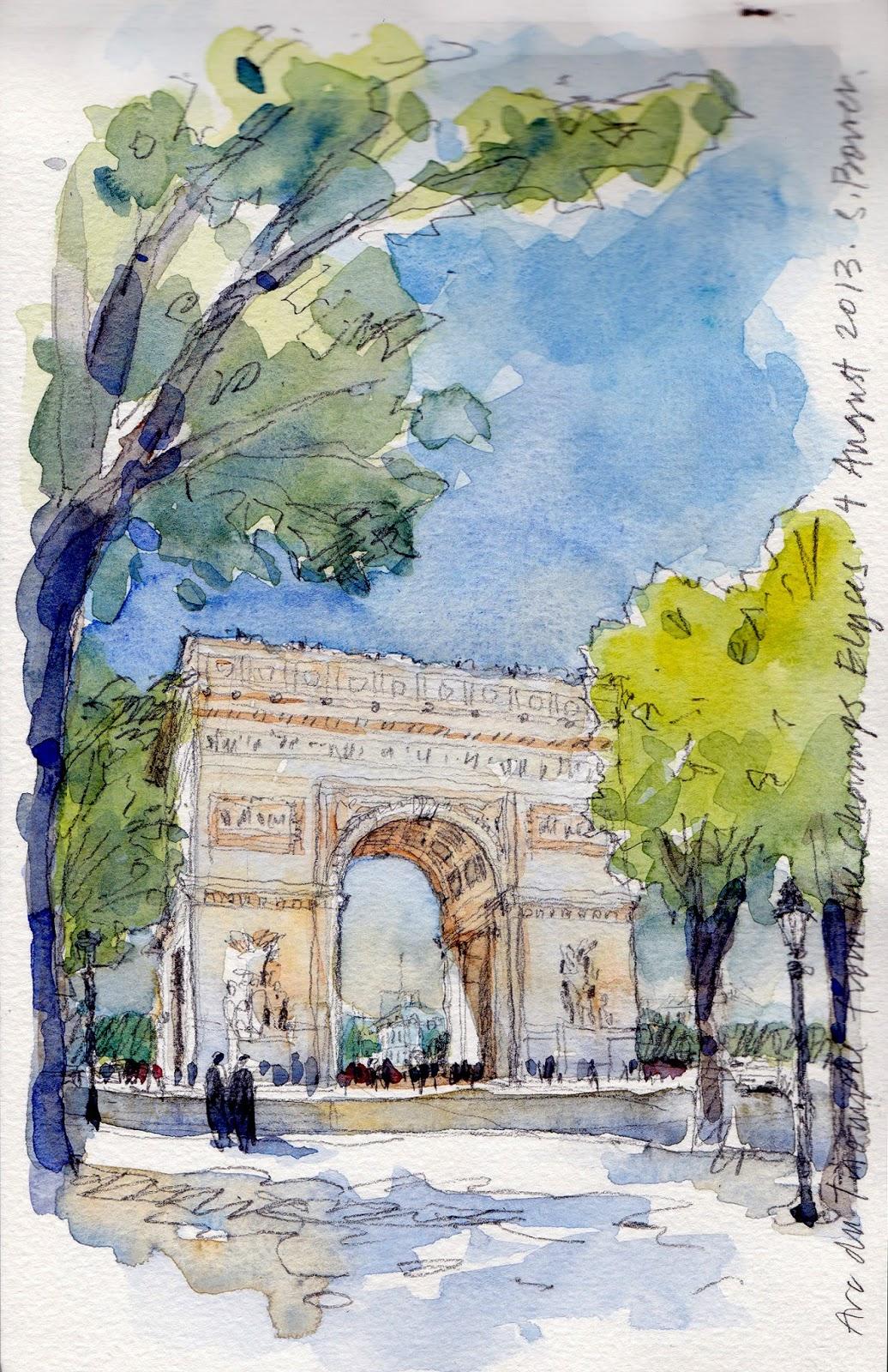Image result for arc de triomphe color sketch