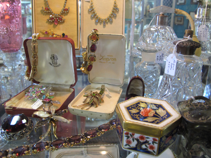 Vintage costume jewellery display