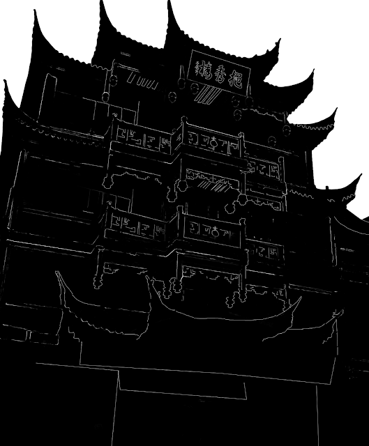silhouette of a chinese building