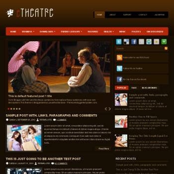 eTheater blog template. template image slider blog. magazine blogger template style