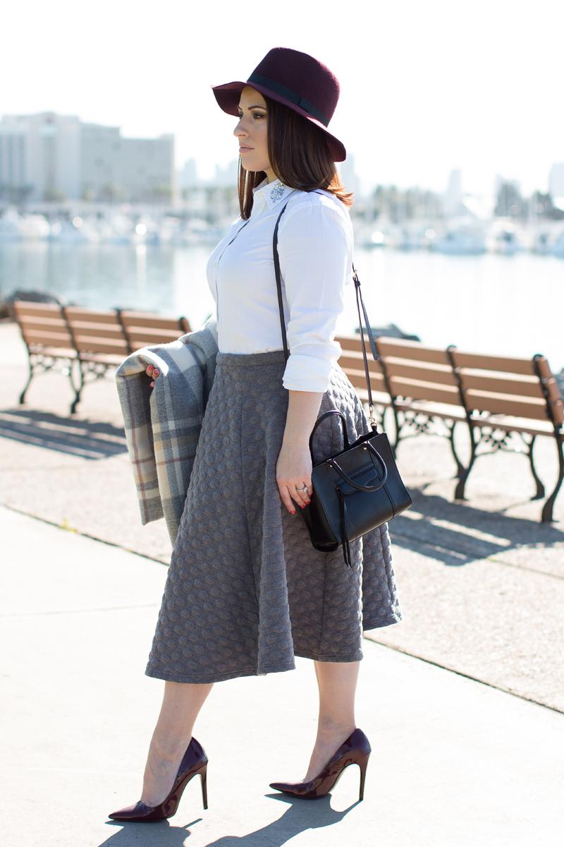joa polka dot circle skirt, plaid blanket scarf, rebecca minkoff mini mab tote