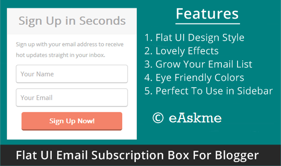 Simple Flat UI Email Subscription Box For Blogger : eAskme
