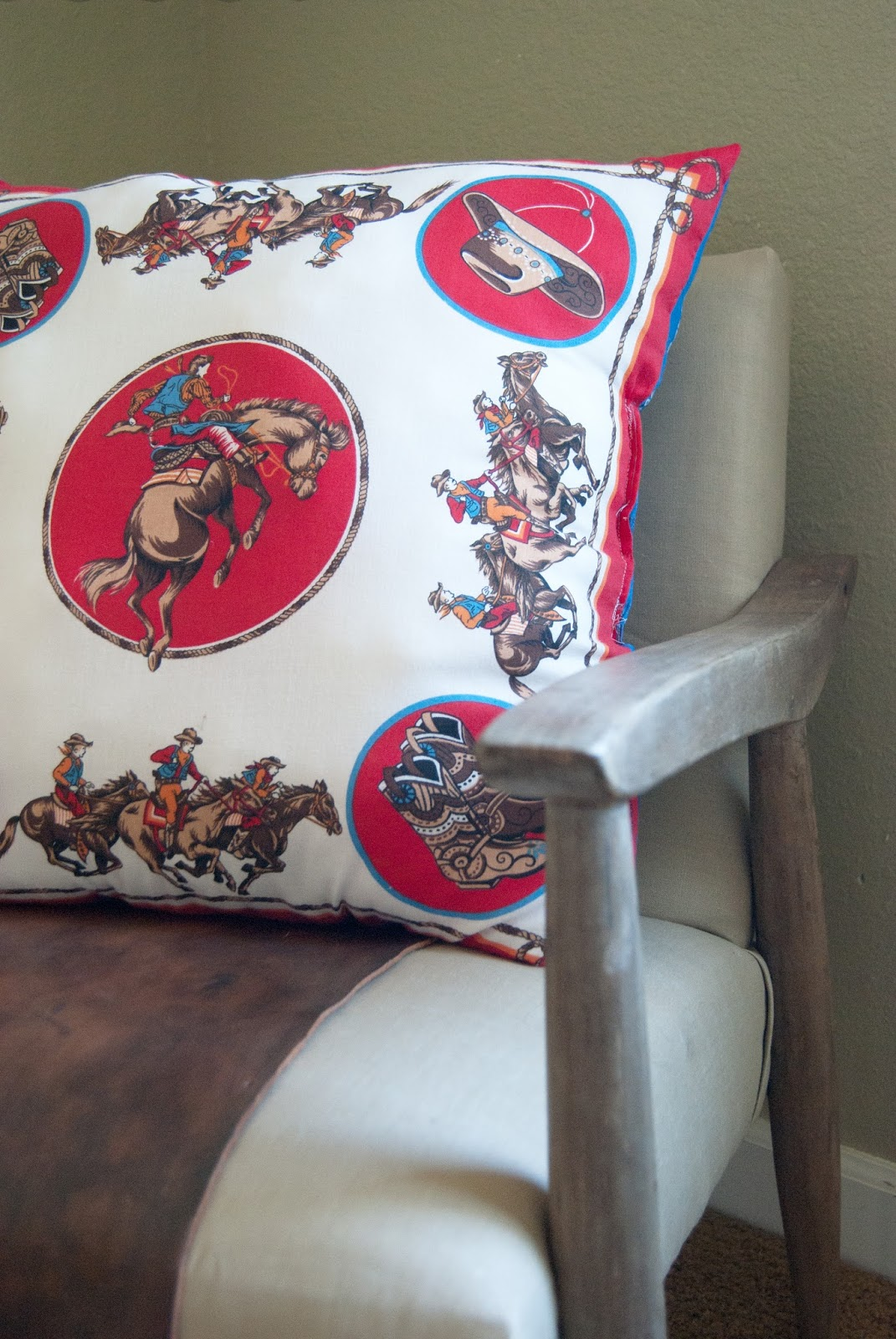 Handkerchief pillow on mid century chair