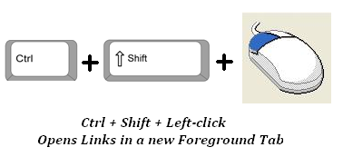 Ctrl + Shift + Left-click opens links in a new foreground