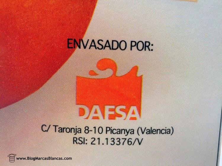 DAFSA fabrica el Zumo refrigerado de naranja exprimida HACENDADO de Mercadona.