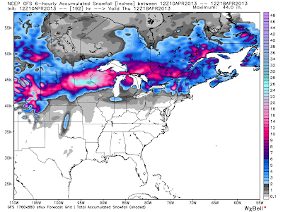 forecast image from the American GFS model shows portions of Wisconsin