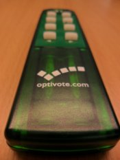 An Optivote brand Clicker handset