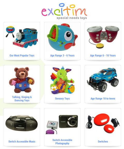 excitim special needs toys logo. Image of 9 thumb-nail pictures of switch adapted equipment. From top right spiraling clock-wise they read: Our Most Popular Toys, Age Range 3-6 years, Age Range 6-10 Years, Talking, Singing and Sensory Toys, Sensory Toys, Age Range 10 to teens, switch accessible music, switch accessible photography, switches.
