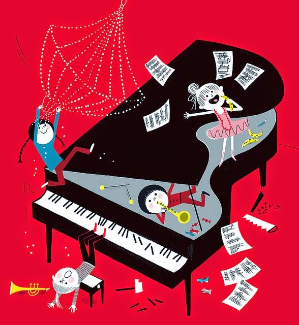 illustration by Aurelie Guillerey of four kids having fun with a grand piano