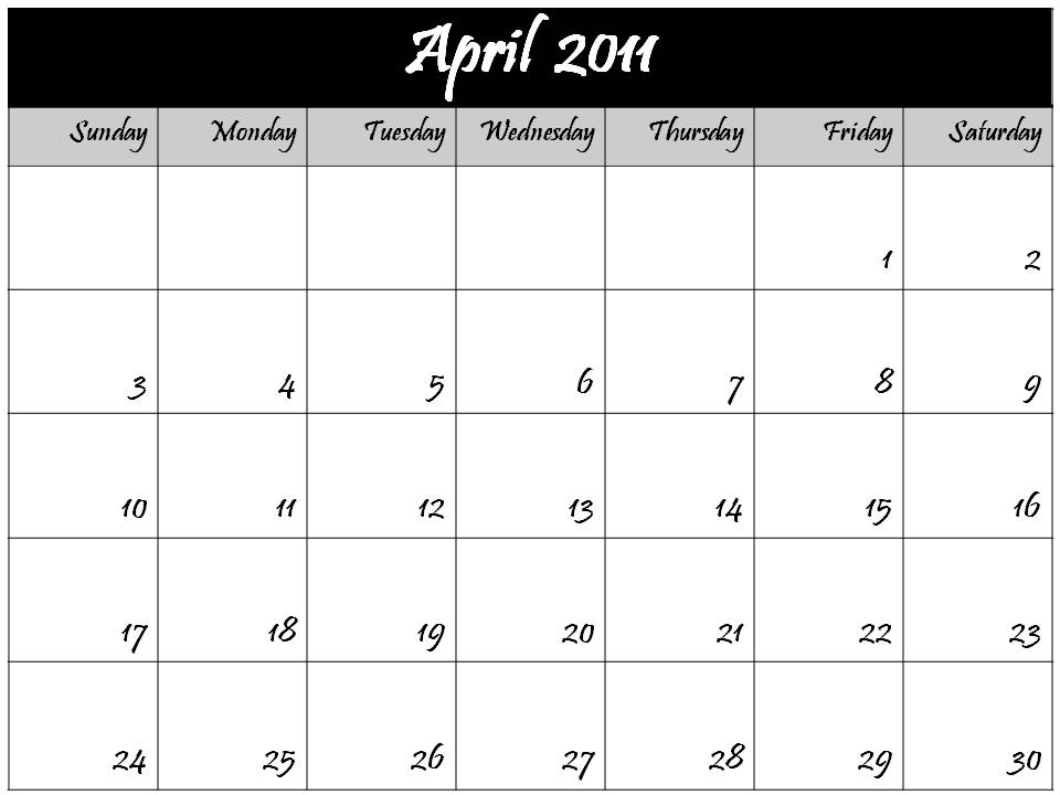 and print this Free Monthly Blank Calendar 2011 April Planner