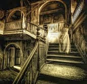 stairs, ghost, scary, cobwebs, old
