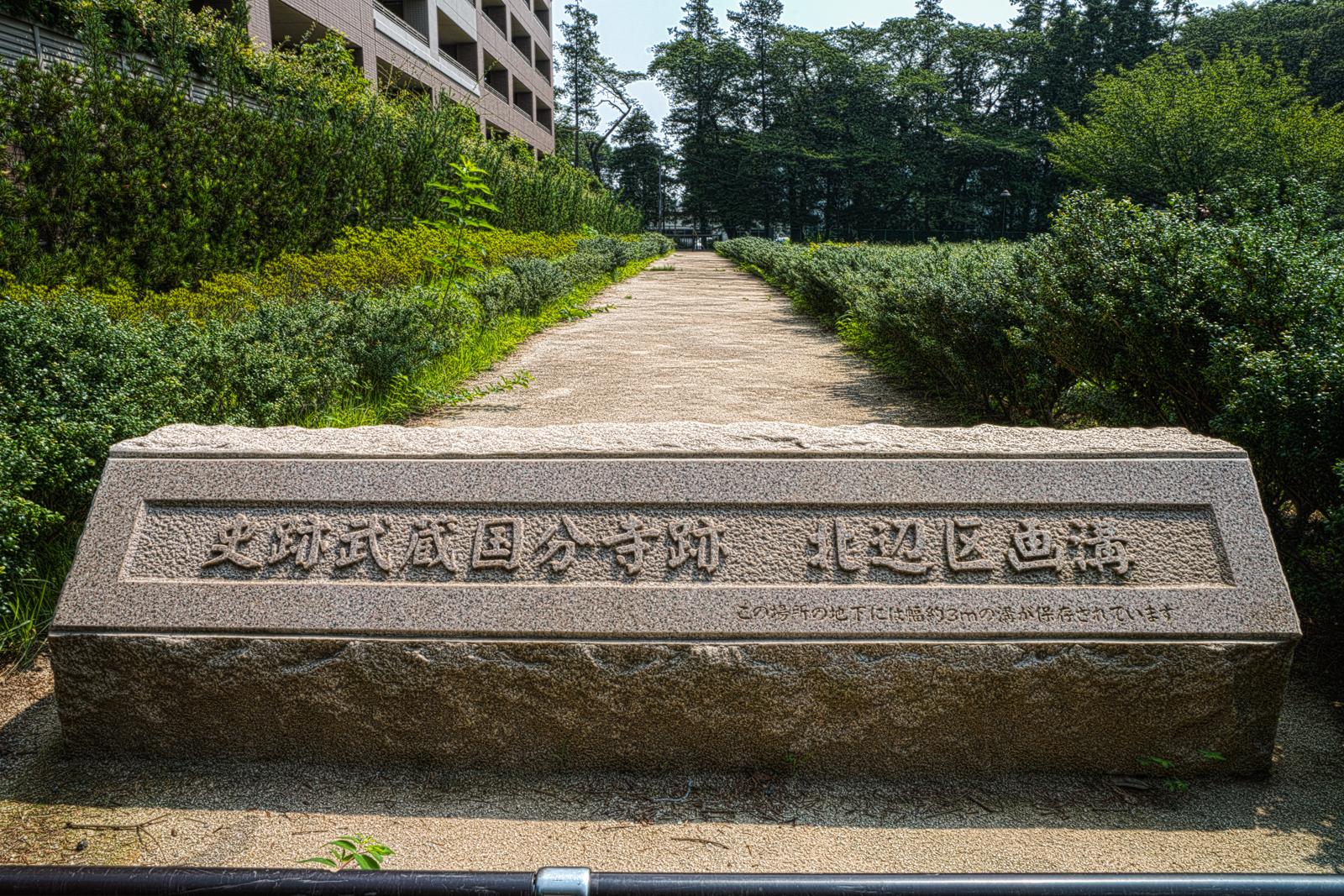 史跡武蔵国分寺跡 北辺区画溝の案内碑の写真