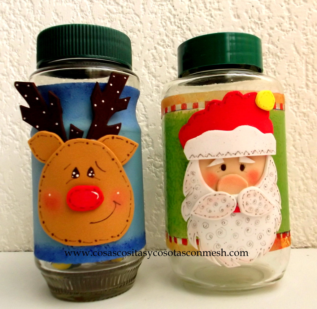 Frascos de navidad decorados cositasconmesh for Frascos decorados para navidad