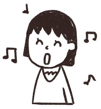 歌をうたう女の子のイラスト(合唱) 白黒線画