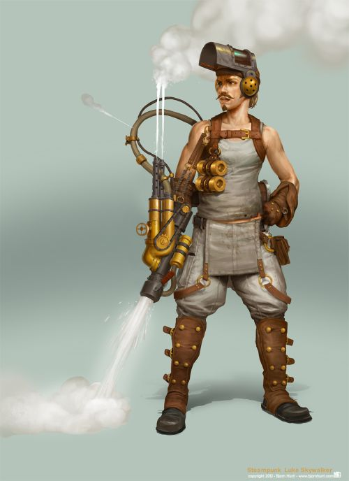 Bjorn Hurri ilustrações fantasia Star Wars steampunk Luke Skywalker