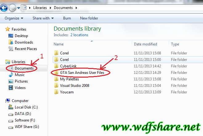 Sobat klik documents lalu klik gta san andreas user files contoh nya