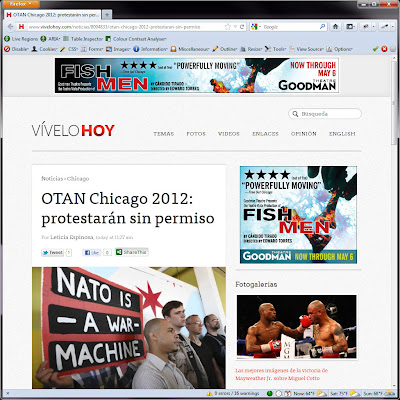 Screen shot of http://www.vivelohoy.com/noticias/8094833/otan-chicago-2012-protestaran-sin-permiso.