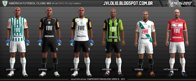 Kit do América Mineiro 2012/13, Kitset do América Mineiro 2012/13 para PES 2012 Download, Baixar Uniforme do América Mineiro 2012/13 para PES 2012