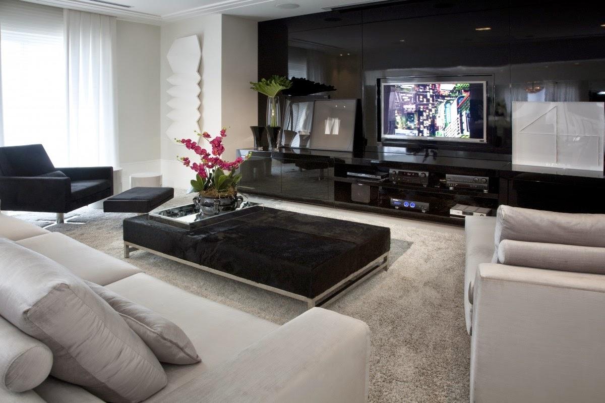 Apartamento moderno com decora o preto branco for Salas de apartamentos modernos