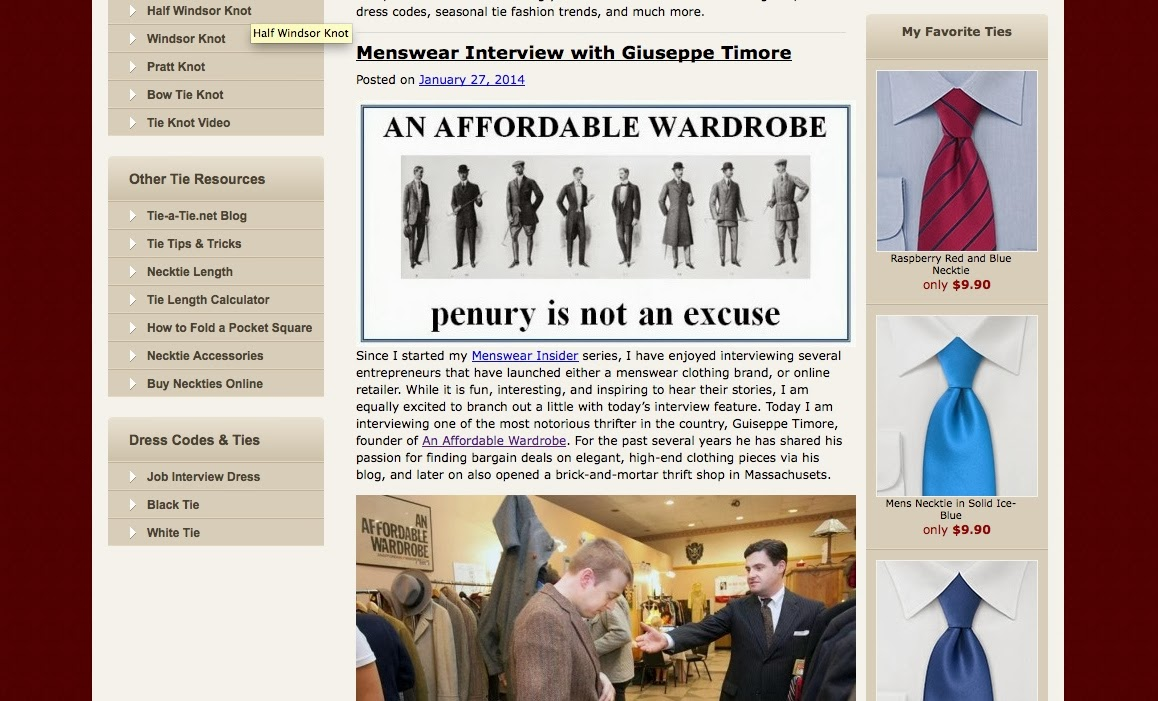 An affordable wardrobe aaw for tie a tie i was recently interviewed by hendrik pohl of tie a tie for a series hes doing on menswear insiders honestly didnt really know i was on the inside ccuart Images