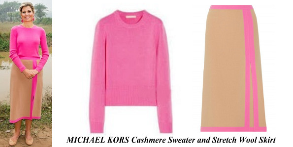 Queen Maxima's MICHAEL KORS Cashmere Sweater and Stretch Wool Skirt