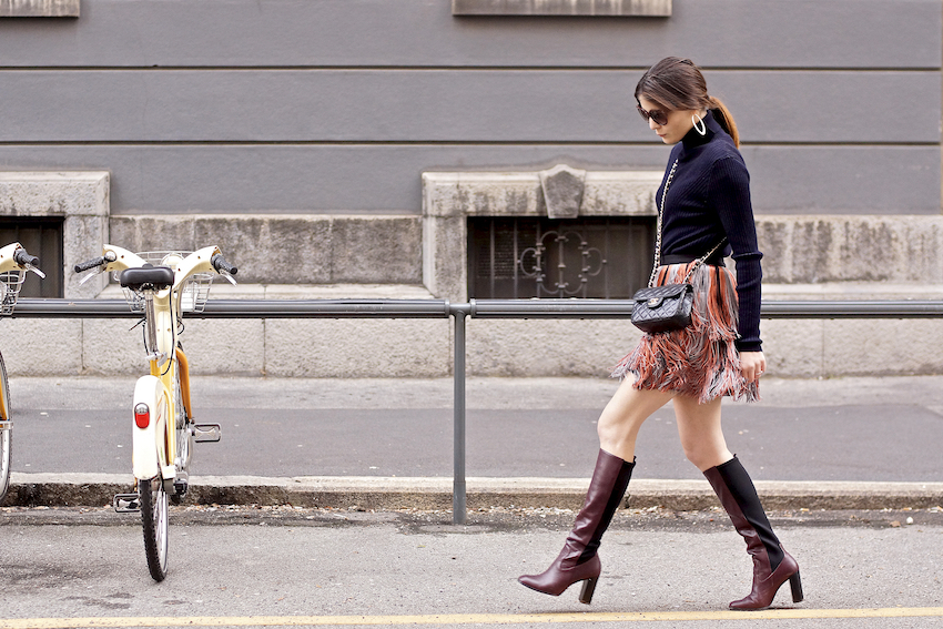 fringed skirt milan fashion week street style irene buffa
