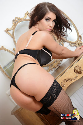 Hot Brunette Kristie Patterson Black Lingerie and Fishnet Stockings in the Mirror