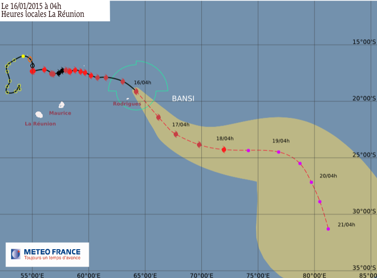 Cyclone tropical intense Bansi: le point à 8h00