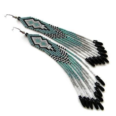 Купить длинные серьги из бисера этника голубые серые