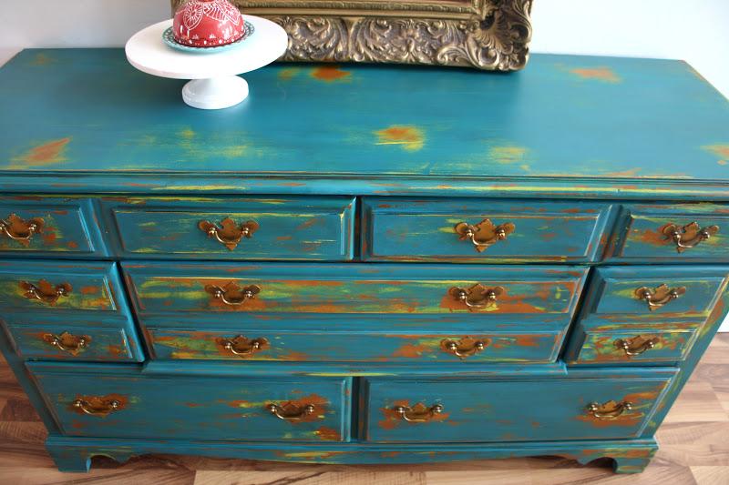 The Turquoise Iris Furniture Amp Art Teal Buffet Dresser