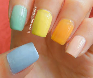 Orly Prelude to a Kiss, Essence Peaches from Marble Mania, Essence Destination Sunshine from Ready for Boarding, Orly Jealous Much?, Essence Sure Azure