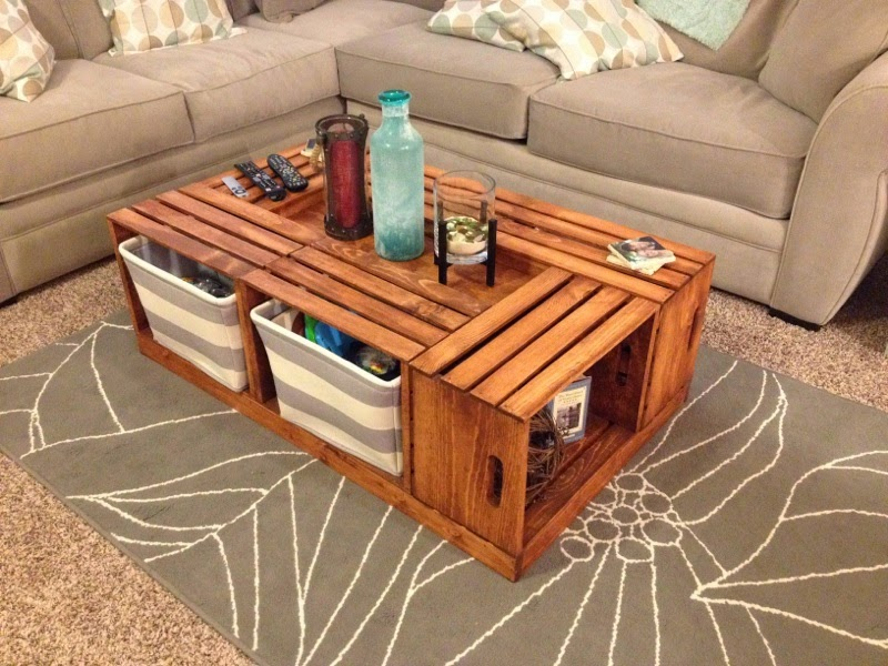 Livingston way diy wine crate coffee table for Coffee table made out of wooden crates