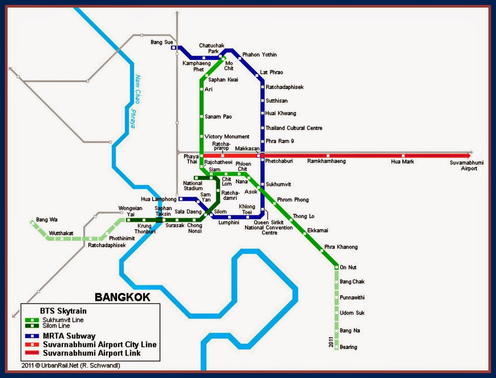 Bangkok City Train Map/Guide.