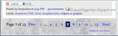 Screen shot of numbered page navigation in my blogger blog