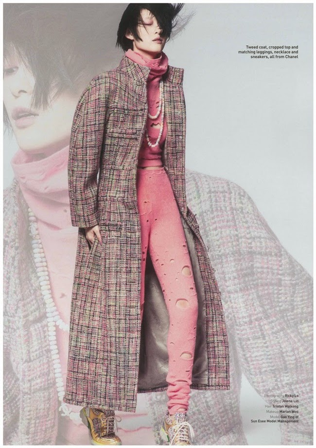Chanel 2014 AW Pink Cropped Top and Matching Leggings with Cutouts
