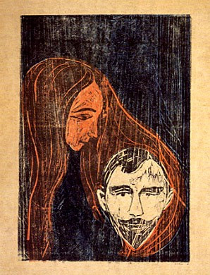 Cabeza de un hombre en el cabello de una mujer