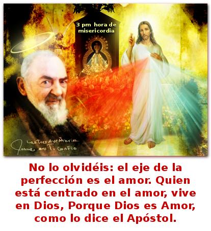 divina misericordia con padre pio y un mensaje