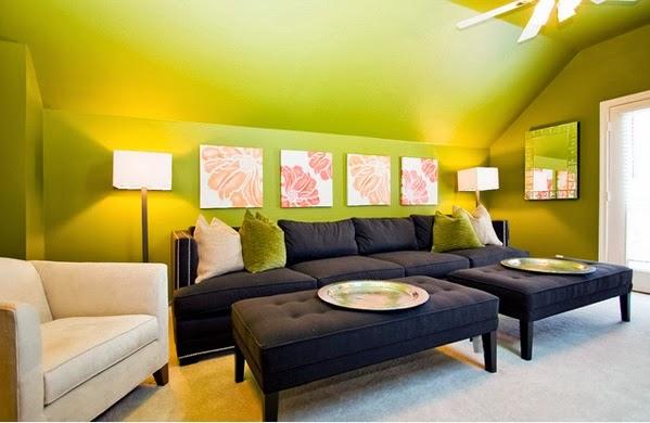 Rafra chissants salons avec des accents verts d coration for Combien de couleur dans un salon