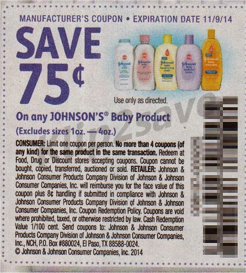Coupon for johnson and johnson products